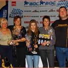 BQC Meisterschaftsfeier 2014: von links nach rechts Klasse 8 Damen mit Steffi Bär, Singer Racing (Birgit Singer), Heiland Racing (Lisa Heiland), Singer Racing (Monika Härtl),Rennleiter (Ray Richter)