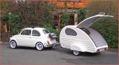 Miniwohnwagen Piccolino: im Retro-Design eignet sich auch für ATVs und Quads; ihn gibt es im Bausatz oder im Komplett-Satz