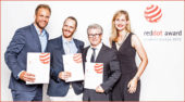 Red Dot Design Award 2016: Matt Tandrup (Director of Design), Maxime Dumont (Senior Industrial Designer), Denys Lapointe (Senior vice-president of Design, Innovation and Corporate Image) und Lisa Powell (Marketing Advisor bei BRP Germany) freuen sich über 3 Trophäen für Can-Am