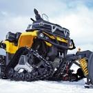 Can-Am Winterdienst-Ausrüstung: neue Apache-Raupen, Schneeschild mit Federung und Schnellbefestigungs-System