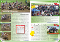 ATV&QUAD Magazin 2012/09-10, Seite 78-79, Szene Rennsport, EMX European Quad Challenge: Vierrädrige Frustrationen; Events, Hostettler: MotoCross und Racing Markt 2012; Quadix / Trophy-Tec / Allrad-Center Pauli: 1. Buggy-Tour im Allgäu