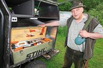 Rüdiger Marquardt, Einsatz Polaris Ranger EV 'Pirschmobil': jede Menge Platz fürs Werkzeug
