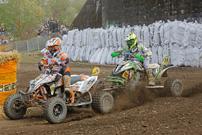 DMX Deutsche MotoCross Quad Meisterschaft 2013, 3. Lauf in Kamp Lintfort: Schreiber (10) vs. Van Grinsven (110