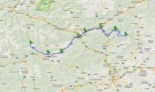 Allrad Horn Herbst Ausfahrt 2013: Google Map; A: Möderbrugg, B: Fohnsdorf, C: Knittelfeld, D: St. Michael in der Obersteiermark, E: Leoben, F: Bruck an der Mur, G: Breitenau am Hochlantsch, H: Sommeralm; © 2013 Google
