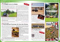 ATV&QUAD Magazin 2014/05-06, Seite 110-111, Erlebnis; Allgäu Buggy Tour: 3. Buggy Corso im Allgäu; Can-Am Open Tracks: Freie Offroad-Trainings für Can-Am-Piloten; Sahara Offroad: Tunesien & Namibia; Kyffhäuser Quadtreffen: 2. Treffen 2014