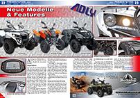 ATV&QUAD Magazin 2014/07-08, Seite 22-23, Präsentation Adly Modelle 2015: Conquest 600, Hurricane und Canyon jetzt auch mit Kardan