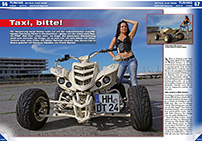 ATV&QUAD Magazin 2014/07-08, Seite 56-57, Tuning, Ramona & Detels 'Flat Iron': Taxi, bitte!