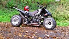 QRP PIMP, Vierzylinder Triton FZS 600 von Jens Kleinmann: SuperMoto Triton 400 mit dem Triebwerk einer Yamaha YFZ 600 Fazer