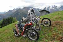 Swincar E-Spider: kann auch seitlich über Berghänge geführt werden