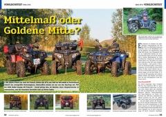 ATV&QUAD Magazin 2020/01, Seite 32-33, Vergleichstest 600er ATVs; Aeon Crossland 600 vs. Hisun Tactic 600 vs. Stels Leopard 600 vs. Online X 7.5 L-R: Mittelmaß oder Goldene Mitte?